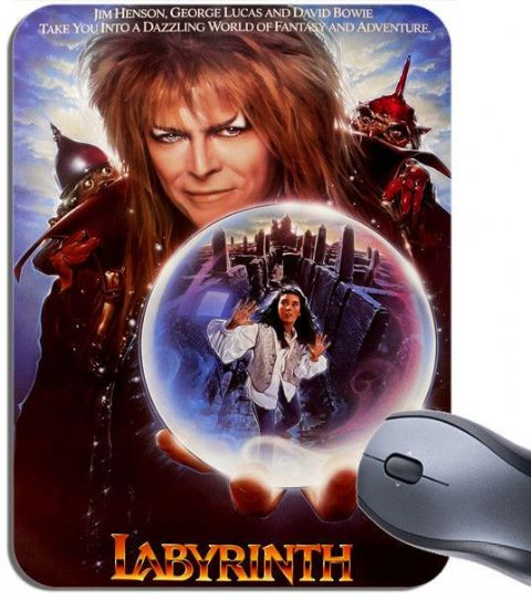 Labyrinth Vintage Film Poster Mouse Mat. High Quality Movie Mouse pad. Bowie